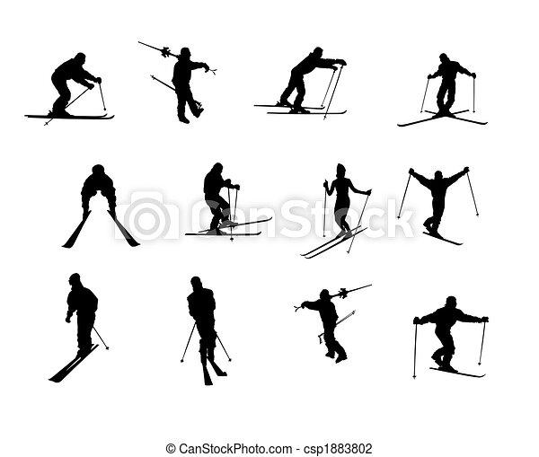 silhouettes, isolé, ski - csp1883802