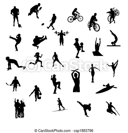 silhouettes, isolé, sports - csp1883796