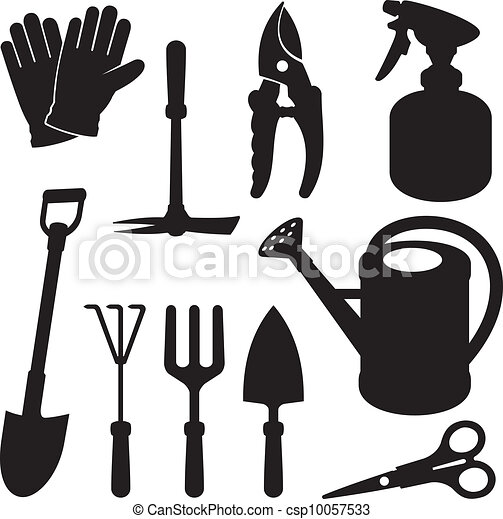 silhouettes, jardinage - csp10057533