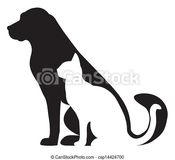 silhouettes, katt, komposition, hund - csp14424700