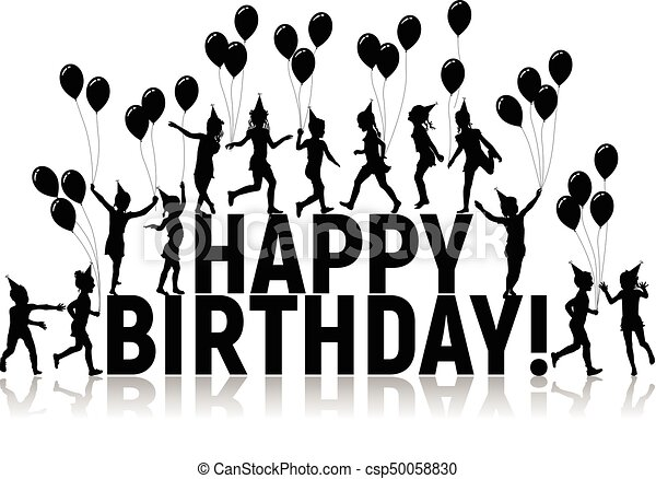 Silhouettes letters and children with balloons happy birthday - csp50058830