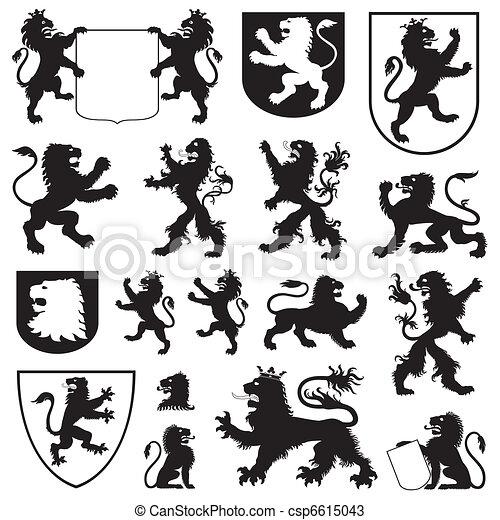 silhouettes, lions, héraldique - csp6615043