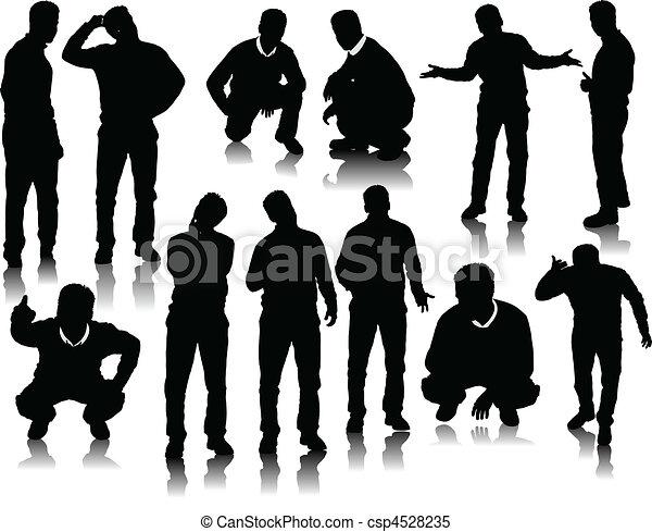 silhouettes, män, stilig - csp4528235