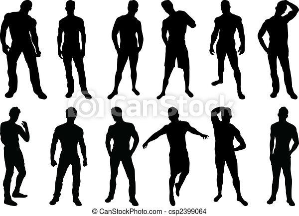 silhouettes, mannen - csp2399064