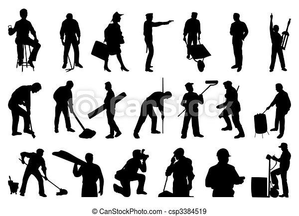 silhouettes, mensen., vector, illustratie, werkende  - csp3384519