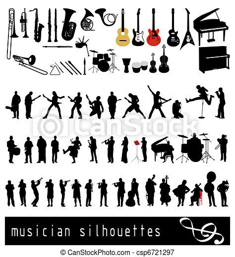 silhouettes, musican - csp6721297
