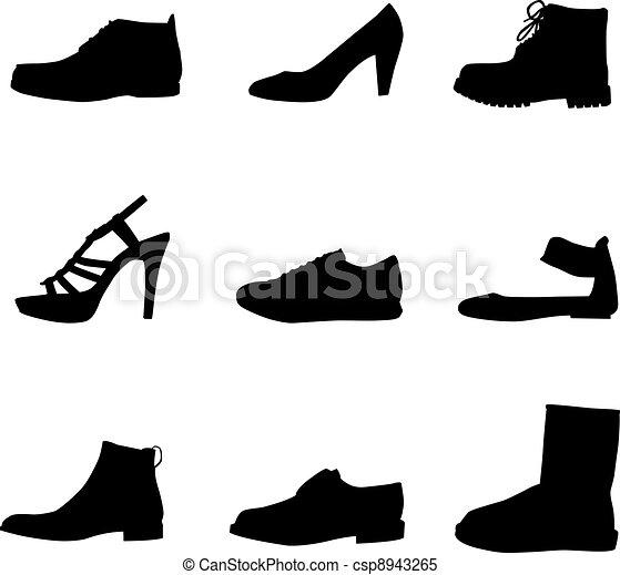 silhouettes, noir, chaussures - csp8943265