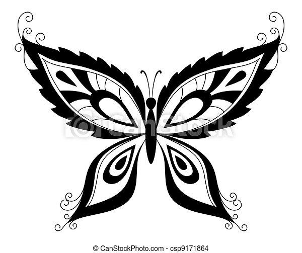 Silhouettes noir papillon r sum papillon silhouettes - Dessins papillons ...