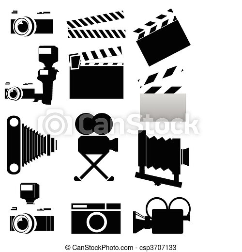 Silhouettes of a photo and video of chambers of black colour. A vector illustration - csp3707133