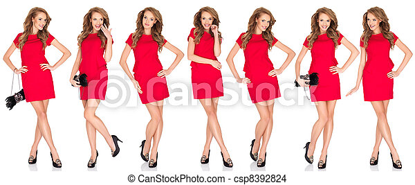 Silhouettes of a sexy blond woman in red dress - csp8392824