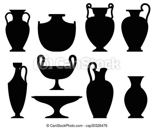 Silhouettes Of Ancient Vases Set Of Ceramic Vases