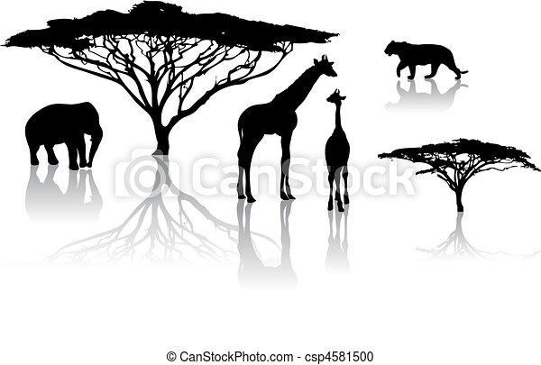Silhouettes of animals - csp4581500
