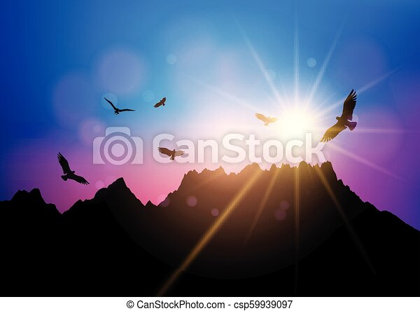silhouettes of birds flying against sunset sky 2804 - csp59939097