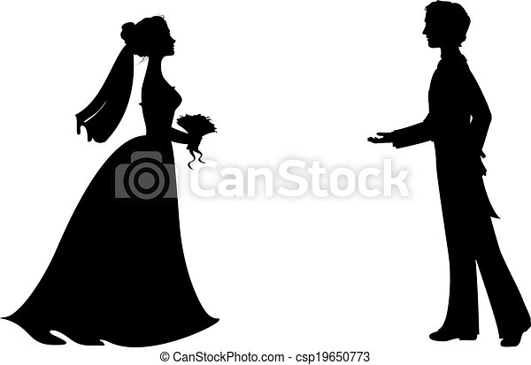 Silhouettes of bride and groom - csp19650773