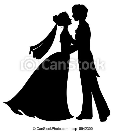 Silhouettes of bride and groom - csp18942300