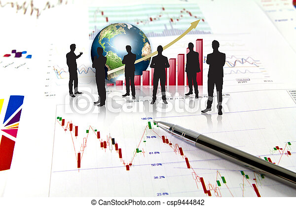 Silhouettes of business and business graph with earth (Elements of this image furnished by NASA) - csp9444842