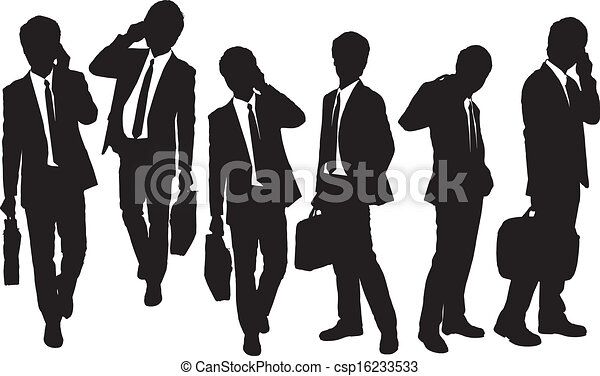 Silhouettes of Business men speaking phone - csp16233533