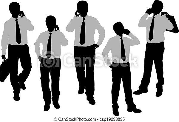 Silhouettes of Business men speaking phone - csp19233835