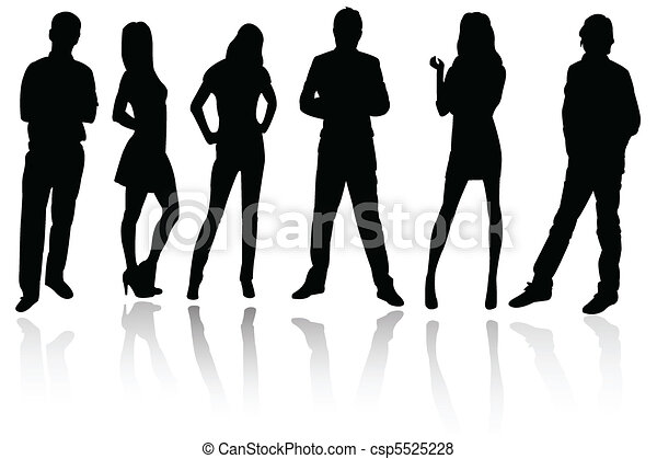 Silhouettes of business people - csp5525228