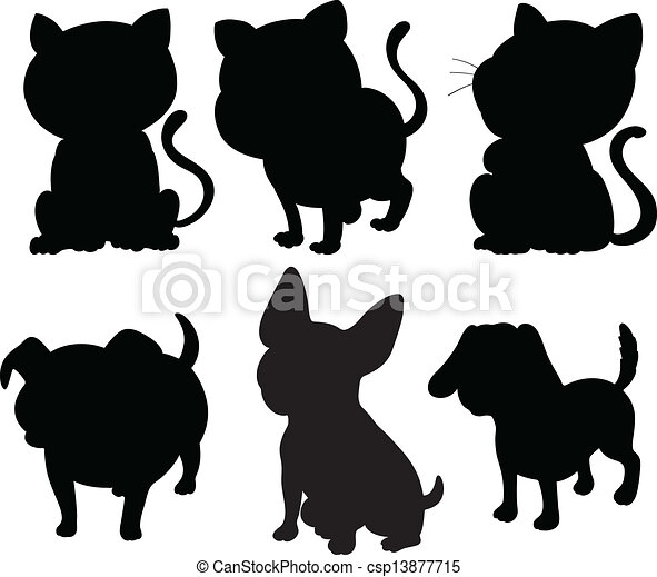 Silhouettes of cats and dogs  - csp13877715