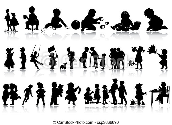 Silhouettes of children in various situations. A vector illustration - csp3866890