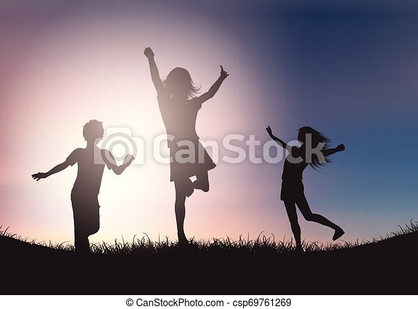 Silhouettes of children playing against sunset sky - csp69761269