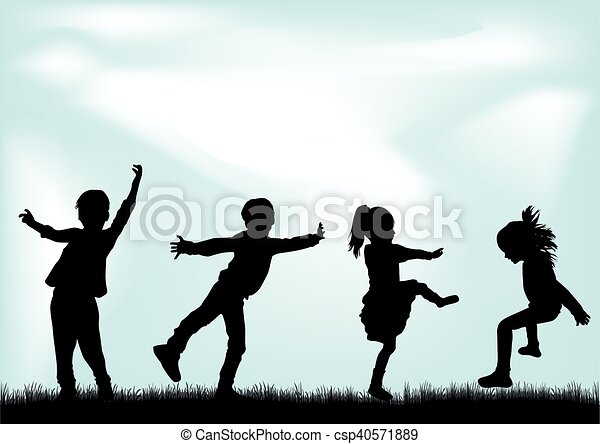 Silhouettes of children playing. - csp40571889