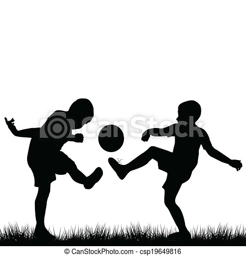 Silhouettes of children playing football - csp19649816