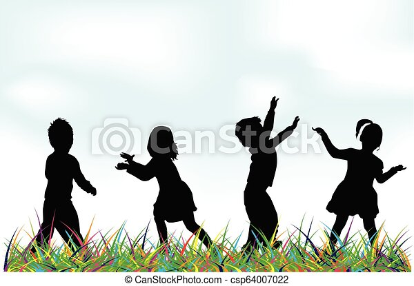 Silhouettes of children playing. - csp64007022