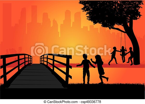 Silhouettes of children playing. - csp49336778