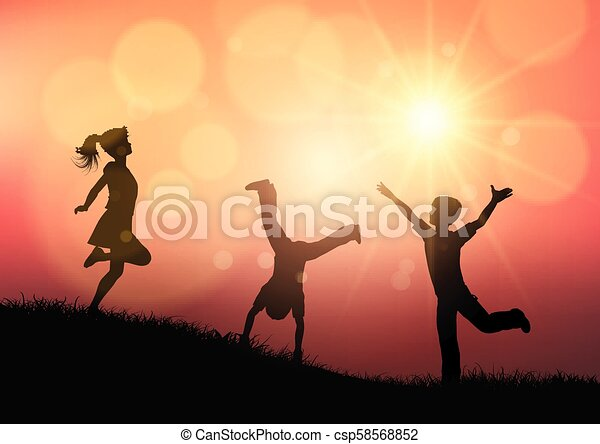 Silhouettes of children playing in sunset landscape - csp58568852