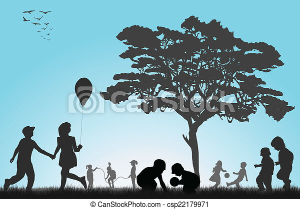 Silhouettes of children playing outside - csp22179971