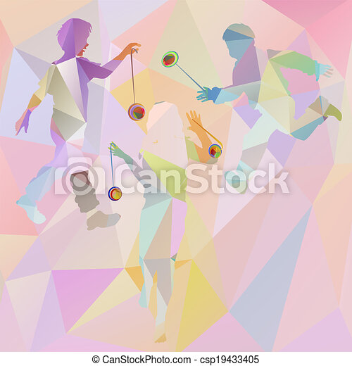 silhouettes of children playing pol - csp19433405