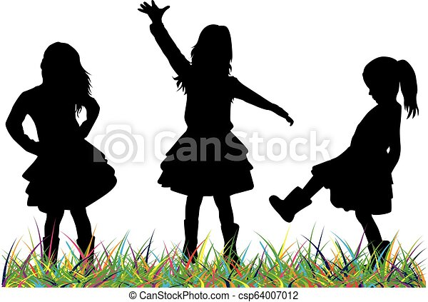 Silhouettes of children playing. - csp64007012