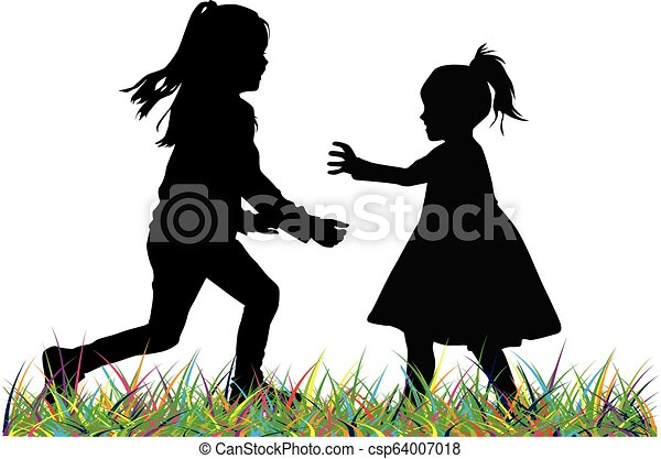 Silhouettes of children playing. - csp64007018
