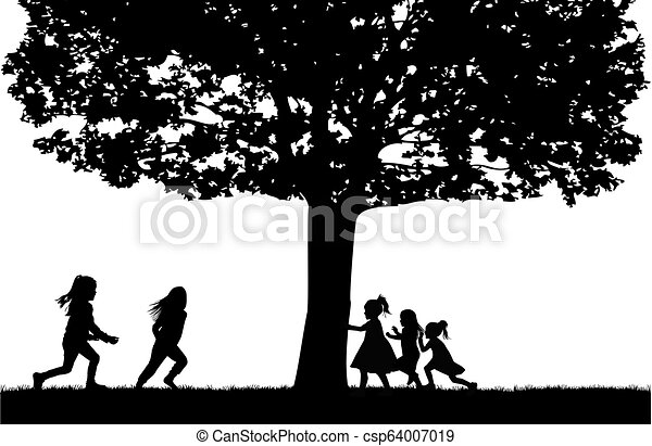 Silhouettes of children playing. - csp64007019
