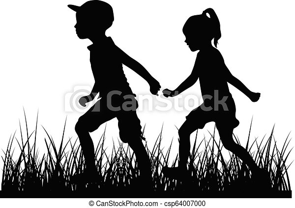 Silhouettes of children playing. - csp64007000