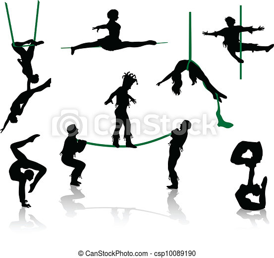 Silhouettes of circus performers. - csp10089190