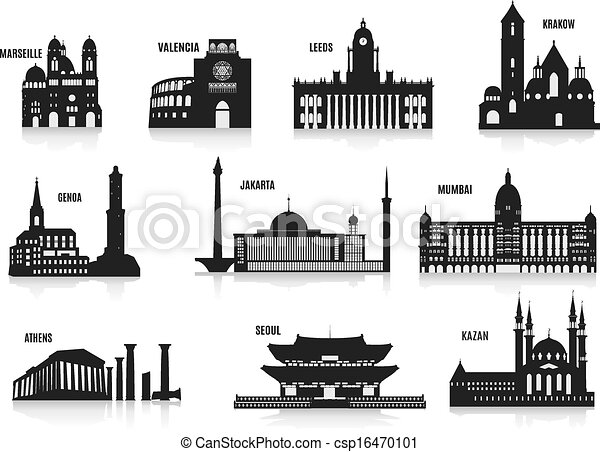 Line Art City : Silhouettes of cities set for you design vector clipart search