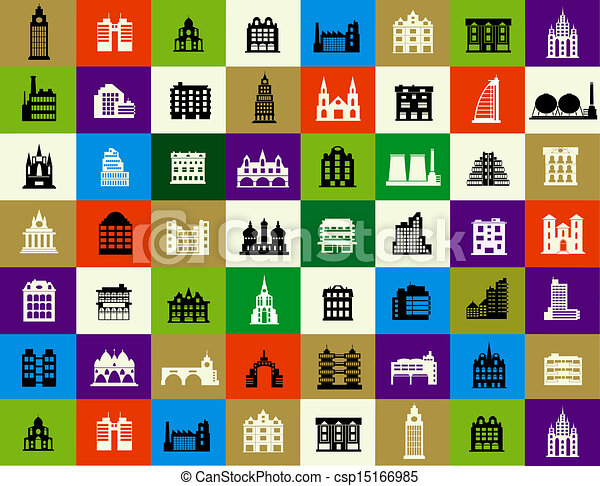 Silhouettes of city buildings - csp15166985