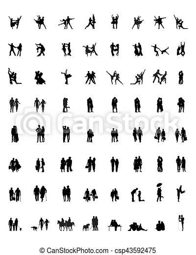silhouettes of couples - csp43592475