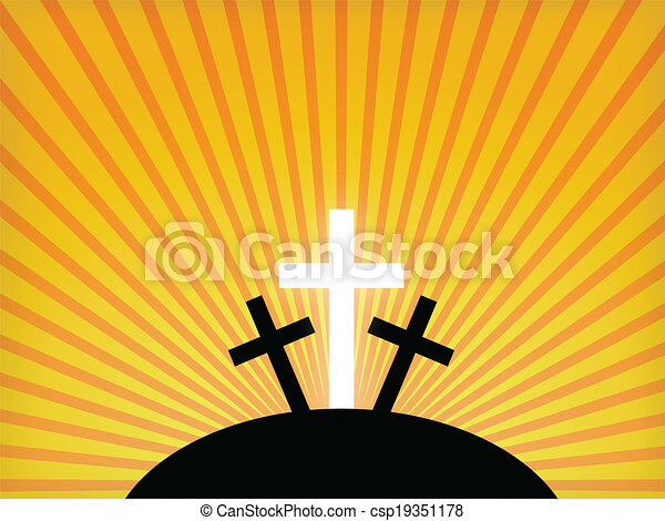 Silhouettes of crosses against a sunset sky. Easter background - csp19351178