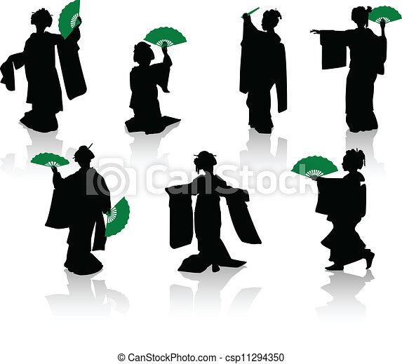Silhouettes of dancers of Japanese  - csp11294350