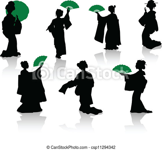 Silhouettes of dancers of Japanese  - csp11294342