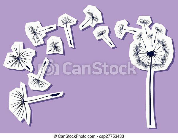 silhouettes of dandelion in the wind - csp27753433