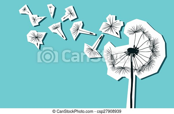 silhouettes of dandelion in the wind - csp27908939