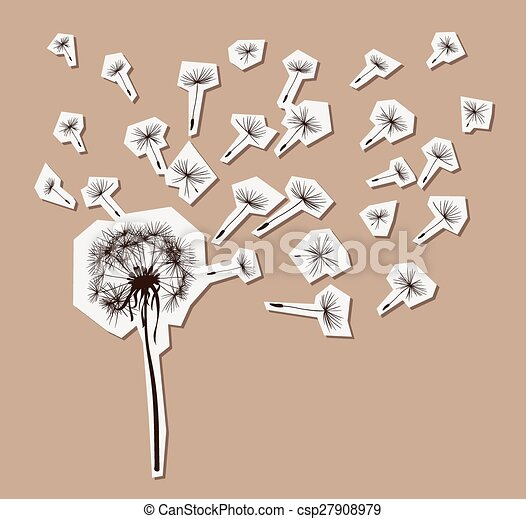 silhouettes of dandelion in the wind - csp27908979