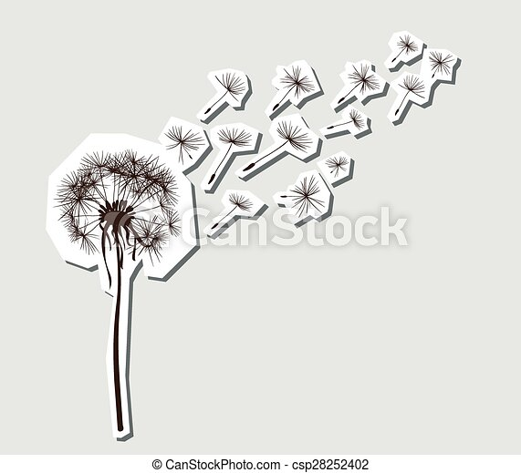silhouettes of dandelion in the wind - csp28252402