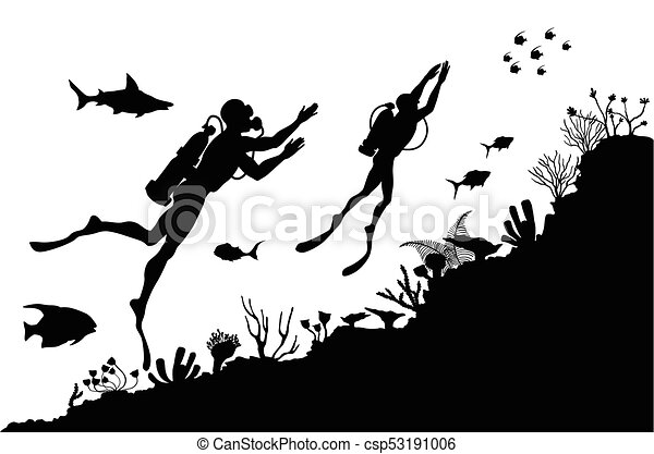silhouettes of divers exploring underwater reef vector illustration