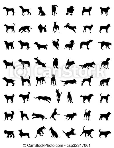 silhouettes of dogs - csp32317061